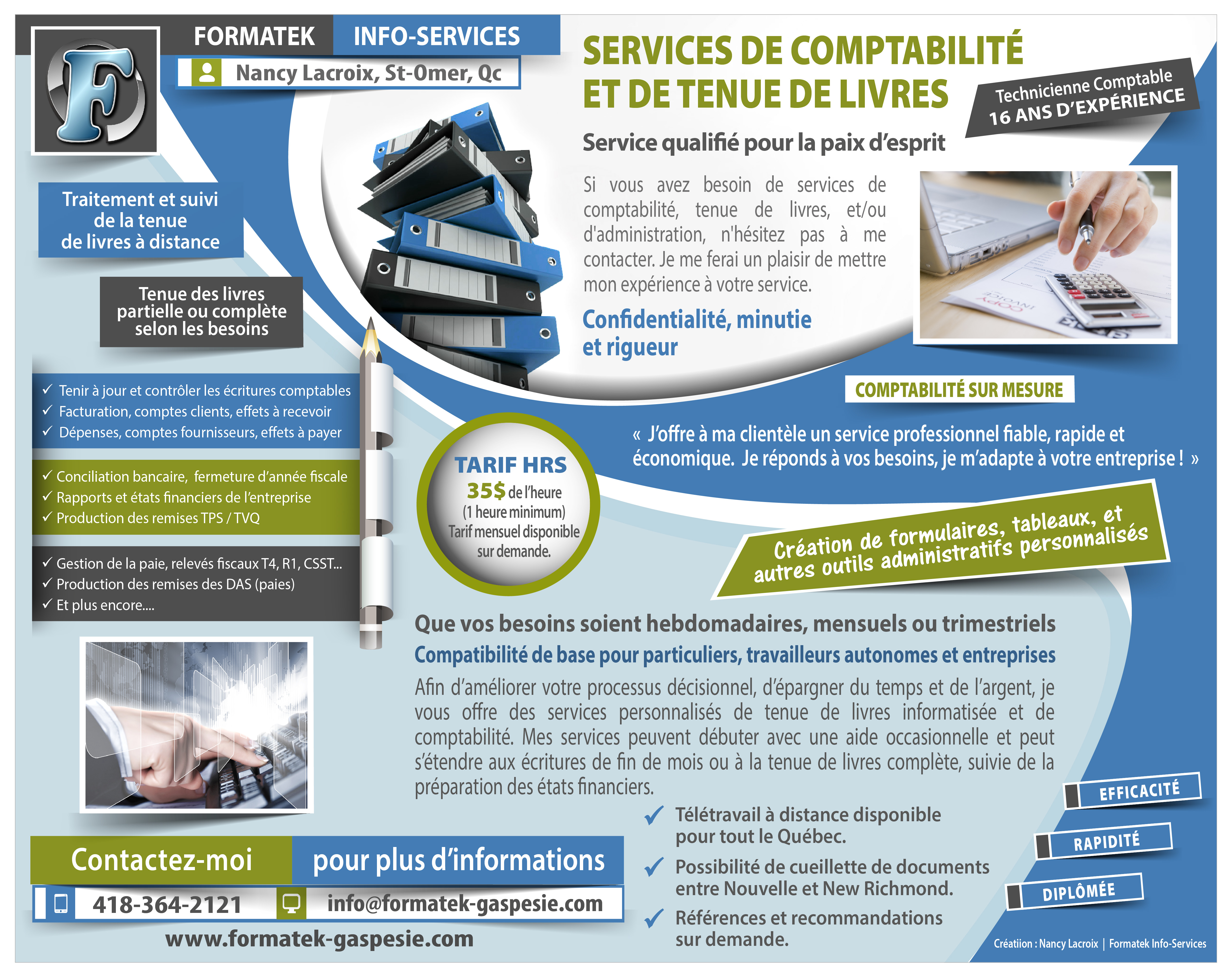 Publicité - Services de comptabilité et de tenue de livres