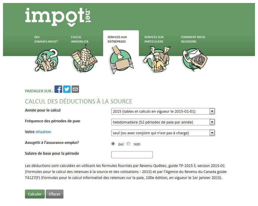 Calcul Des Deductions A La Source Impot Net >> Calcul Des D A S En Ligne Creation Et Programmation De