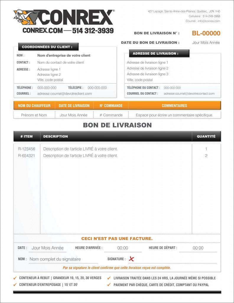 FORMULAIRE BON DE LIVRAISON CONREX FORMULAIRE PDF DYNAMIQUE REMPLISSABLE