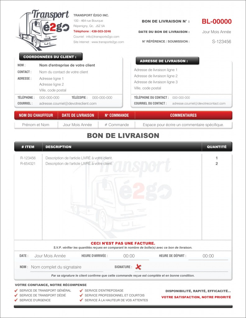 FORMULAIRE BON DE LIVRAISON TRANSPORT É2GO FICHIER PDF DYNAMIQUE REMPLISSABLE