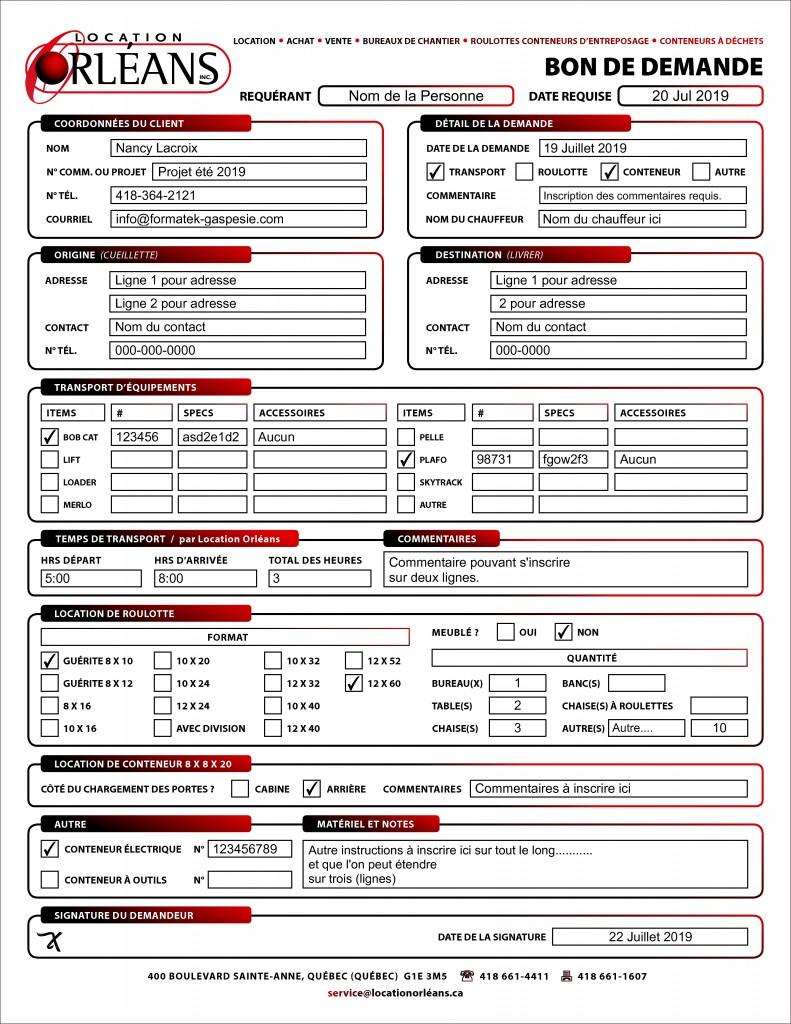 PDF DYNAMIQUE - CONTRAT - BON DE DEMANDE - LOCATION ORLÉANS - FORMATEK INFO-SERVICES