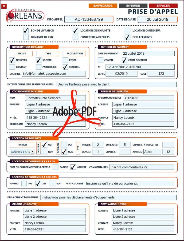 PDF DYNAMIQUE - PRISE D'APPEL - LOCATION ORLÉANS - FORMATEK INFO-SERVICES