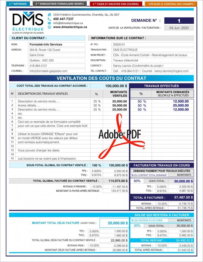 PDF DYNAMIQUE_INTERACTIF_TABLEAU_VENTILATION DES COÛTS DU CONTRAT_DMS ÉLECTRIQUE