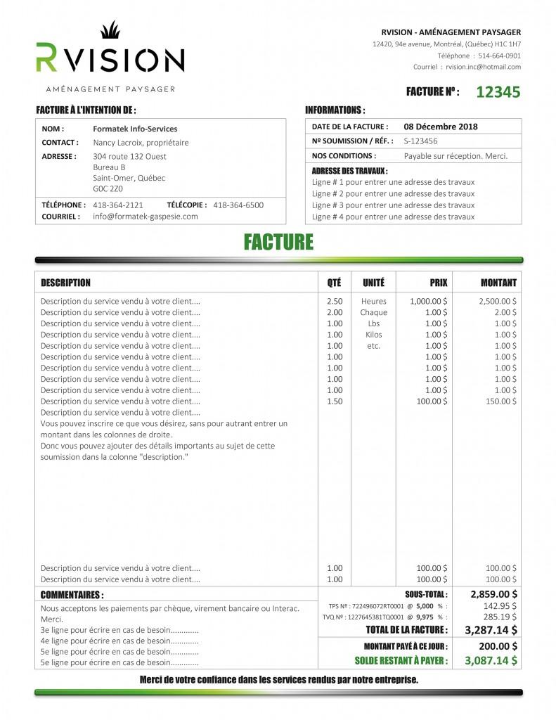 FACTURE DE RVISION - FORMULAIRE PDF DYNAMIQUE - IMPRIME