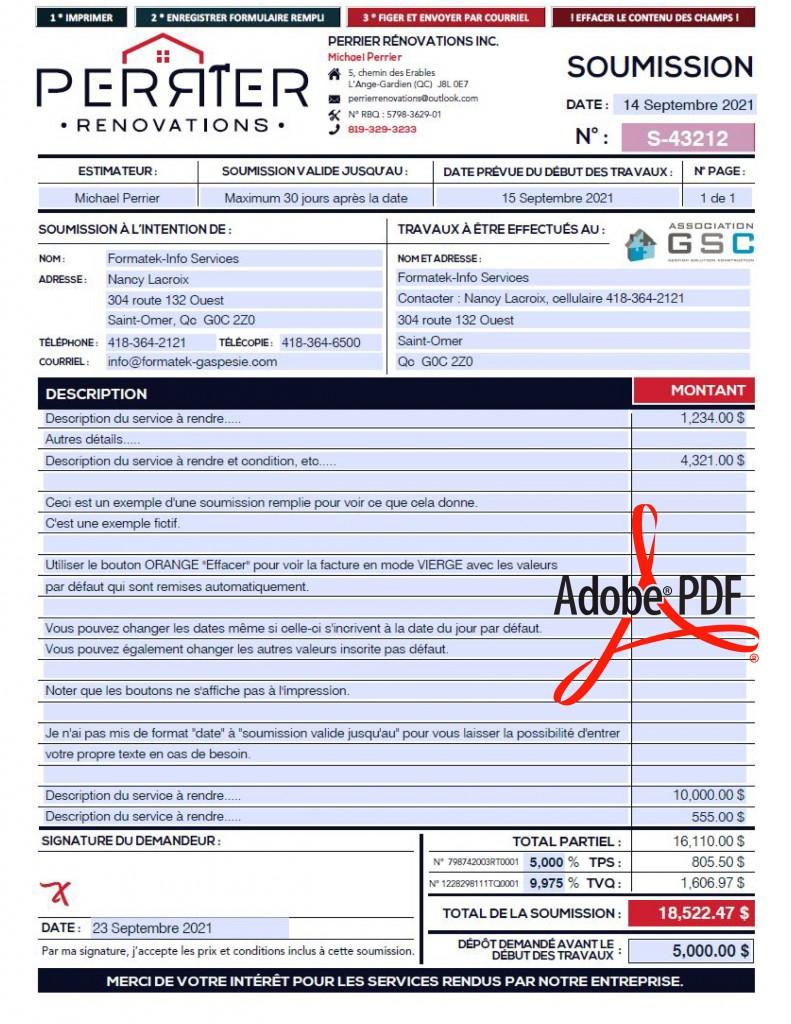SOUMISSION - FORMULAIRE PDF DYNAMIQUE - PERRIER RENOVATION INC - DYNAMIQUE