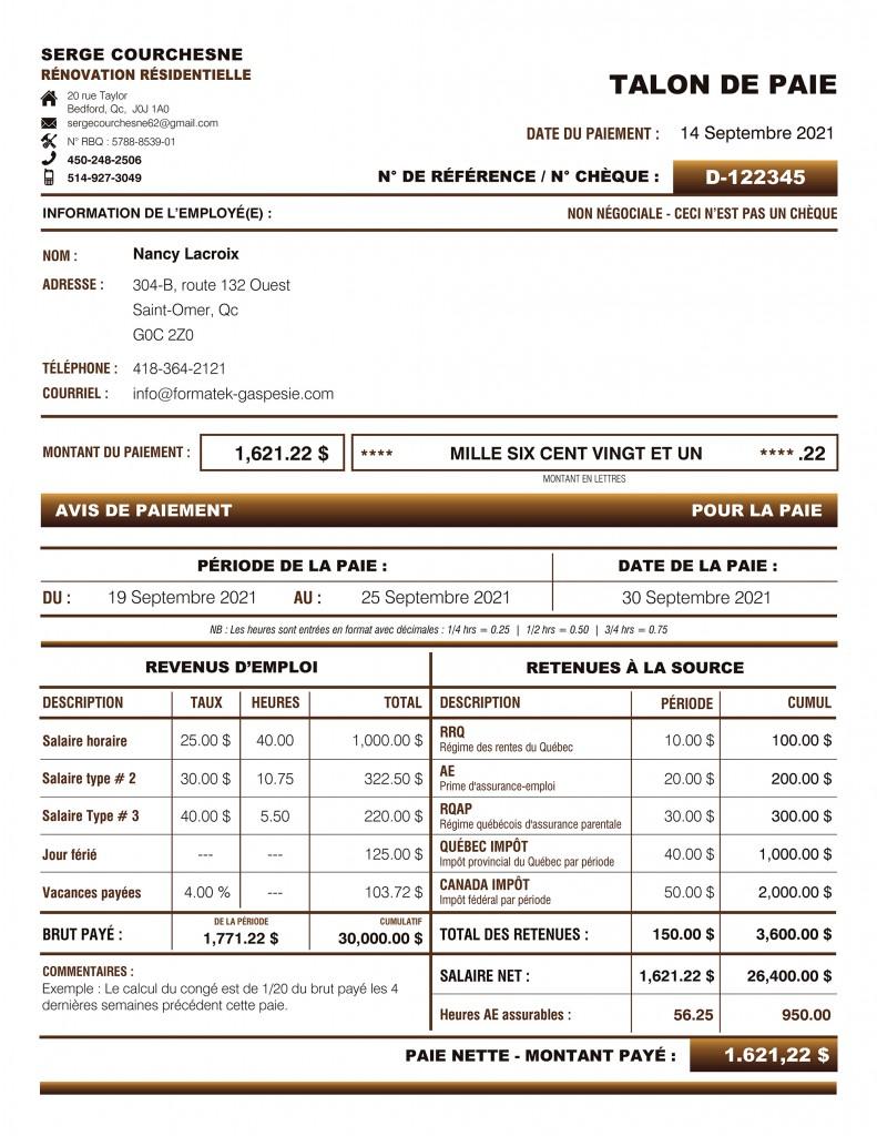 TALON DE PAIE - FORMULAIRE PDF DYNAMIQUE - SERGE COURCHESNE RÉNOVATION - IMPRIMÉ