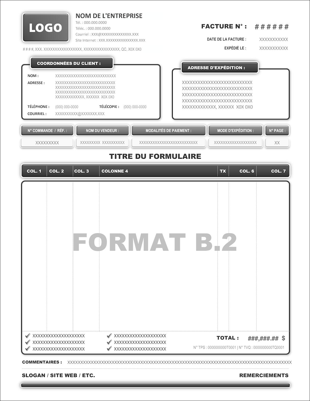 MODÈLES DU FORMAT B.2