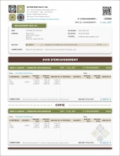 MODÈLE SE.4   AVIS D'ENCAISSEMENT   FACTURE   FORMAT A.1
