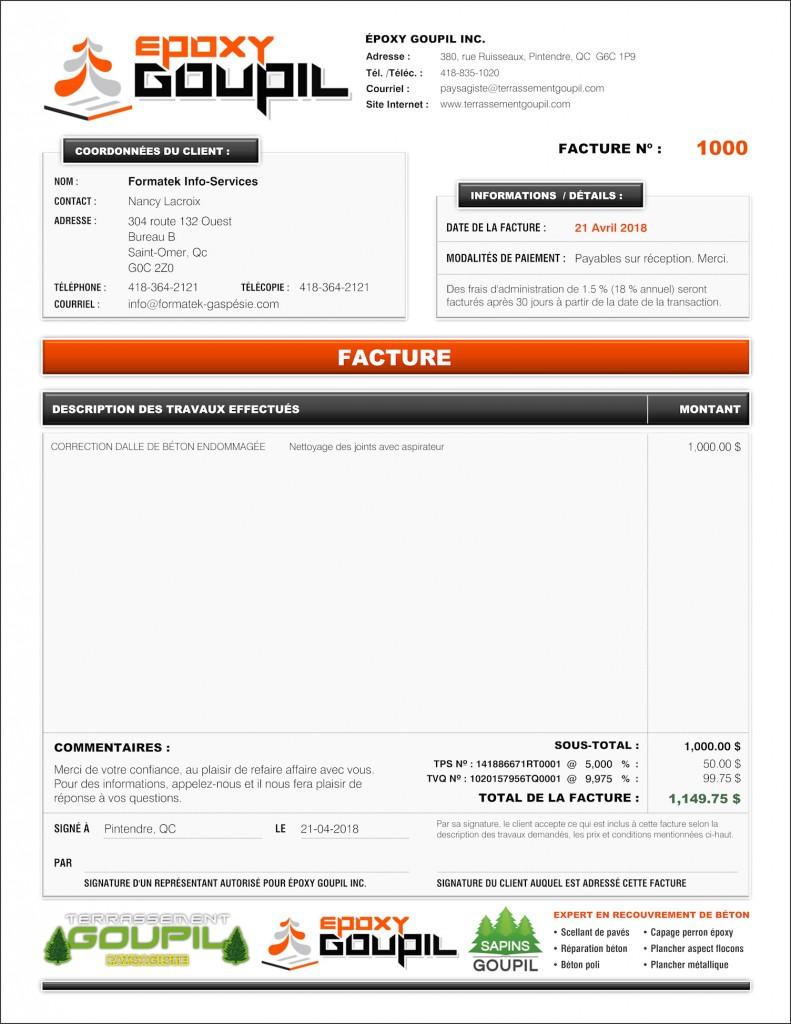 FACTURE VIERGE-BOUTONS DE ÉPOXY GOUPIL INC