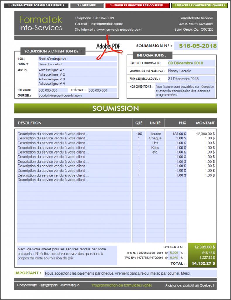 FORMULAIRE PDF DYNAMIQUE INTERACTIF SOUMISSION DEVIS FORMATEK