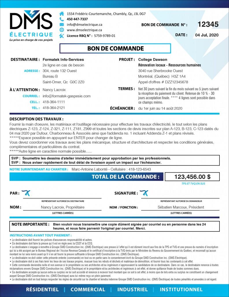 PDF DYNAMIQUE INTERACTIF - BON DE COMMANDE CONTRAT AVEC FOURNISSEUR - DMS ÉLECTRIQUE-2