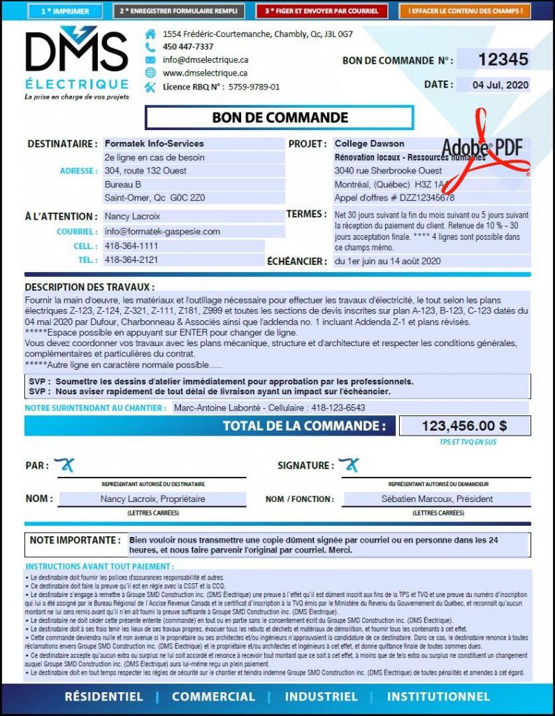 PDF DYNAMIQUE INTERACTIF - BON DE COMMANDE CONTRAT AVEC FOURNISSEUR - DMS ÉLECTRIQUE