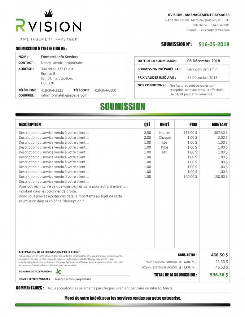 SOUMISSION DE RVISION - PDF DYNAMIQUE - IMPRIMÉ