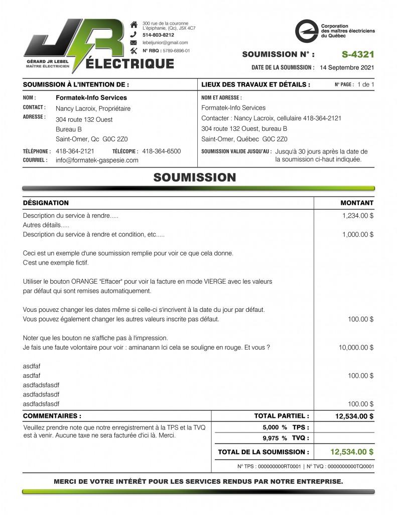 SOUMISSION - JR ÉLECTRIQUE - FORMULAIRE PDF DYNAMIQUE - IMPRIME