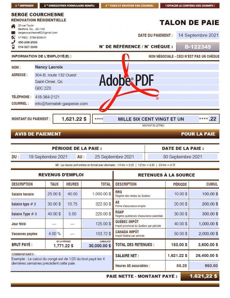 TALON-DE-PAIE-FORMULAIRE-PDF-DYNAMIQUE-SERGE-COURCHESNE-RÉNOVATION